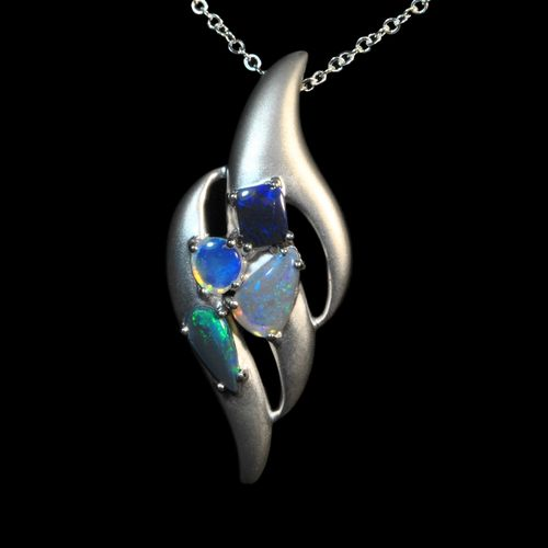 Brushed silver multi opal pendant